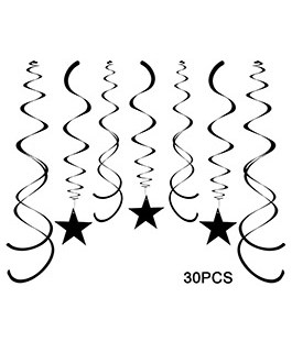 Black Party Star Swirl Decorations, Foil Ceiling Hanging Star Swirl Decorations, Pack of 30