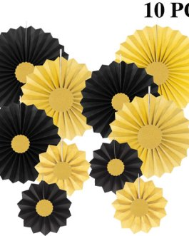 Gold and Black Paper Fans Hanging Party Decorations,Pack of 10