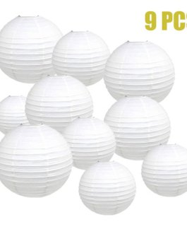 """White Paper Lanterns Hanging Lanterns for Party Decorations,8"""", 10"""", 12"""",Pack of 9"""