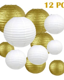 """Gold and White Paper Lanterns Hanging Lanterns for Party Decorations,8"""", 10"""", 12"""",Pack of 12"""
