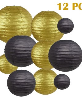 """Gold and Black Paper Lanterns Hanging Lanterns for Party Decorations,8"""", 10"""", 12"""",Pack of 12"""