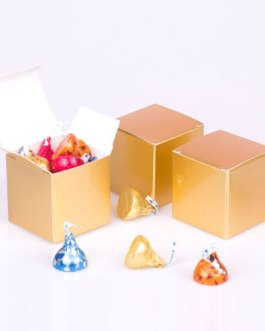 Gold Candy Boxes 2 x 2 x 2 Inch Small Mini Square Paper Boxes