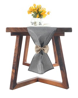 Gray Burlap Table Runner