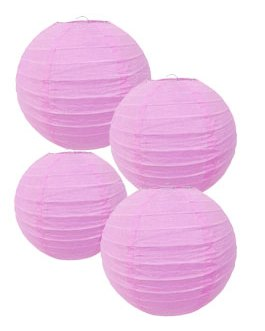 """Pink Paper Lanterns Hanging Lanterns for Party Decorations,8"""", 10"""", 12"""",Pack of 9"""
