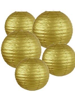 """Gold Paper Lanterns Hanging Lanterns for Party Decorations,8"""", 10"""", 12"""",Pack of 9"""