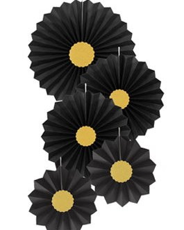 Black Paper Fans Hanging Party Decorations,Pack of 10