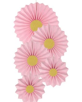 Pink Paper Fans Hanging Party Decorations,Pack of 10