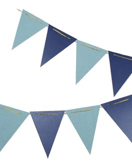10 Feet Glitter Pennant Banner 15pcs Flags, Pack of 2 (Blue/Light Blue)