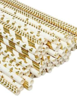 Paper Straw 100pc For Parties (Gold)