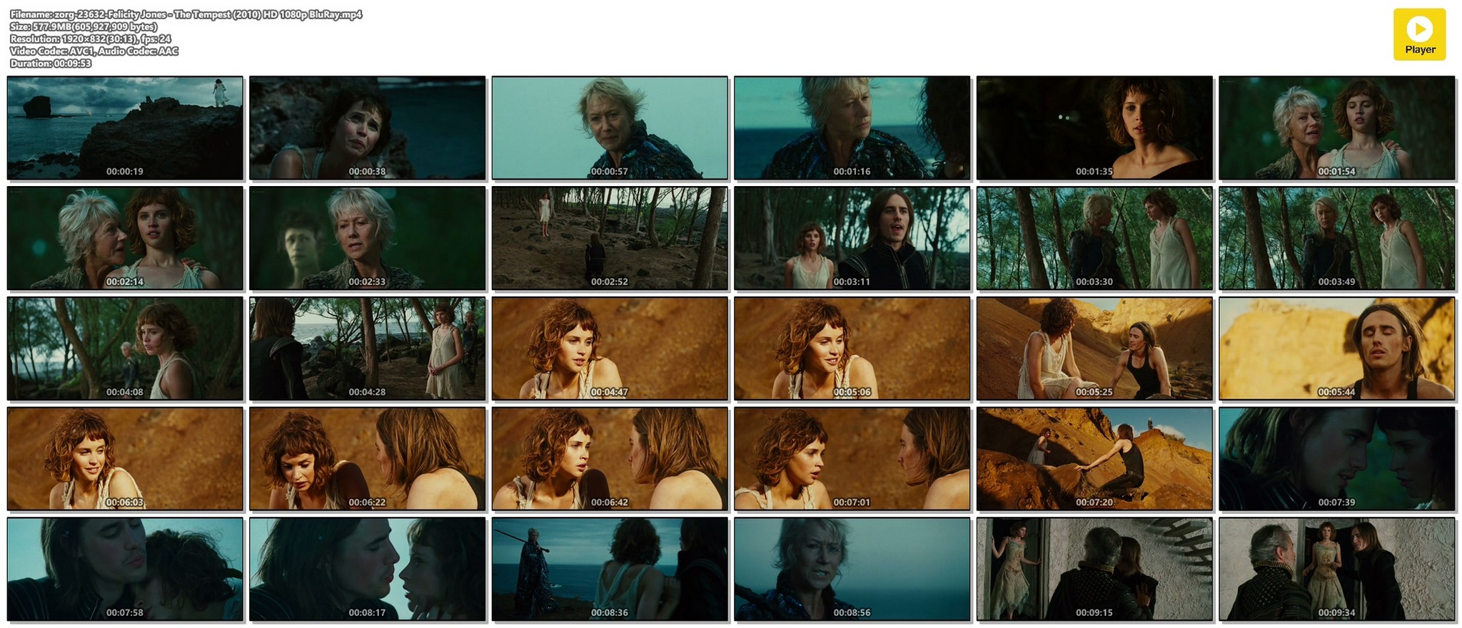 Felicity Jones hot and sexy - The Tempest (2010) HD 1080p BluRay (1)