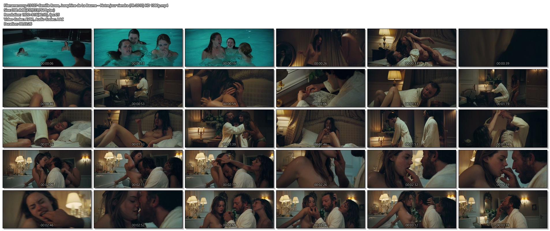 Camille Rowe nude and Josephine de La Baume nude sex threesome - Notre jour viendra (FR-2010) HD 1080p BluRay (1)