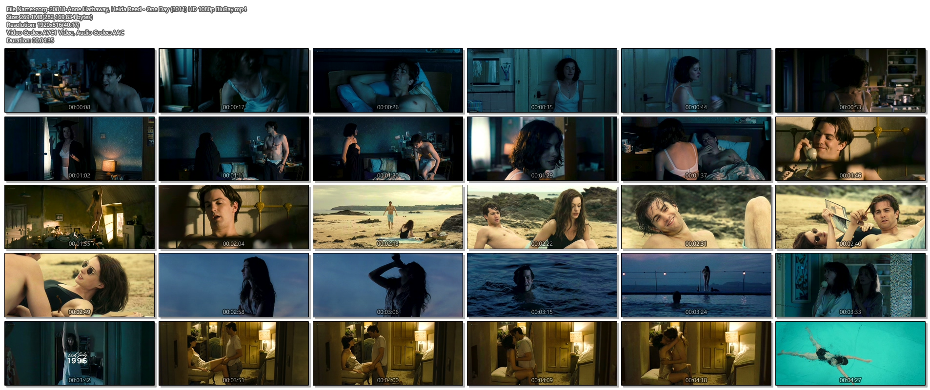 Anne Hathaway hot and Heida Reed nude butt - One Day (2011) HD 1080p BluRay (1)