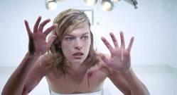 Milla Jovovich nude brief bush and side boob - Resident Evil (2002) HD 1080p BluRay (3)