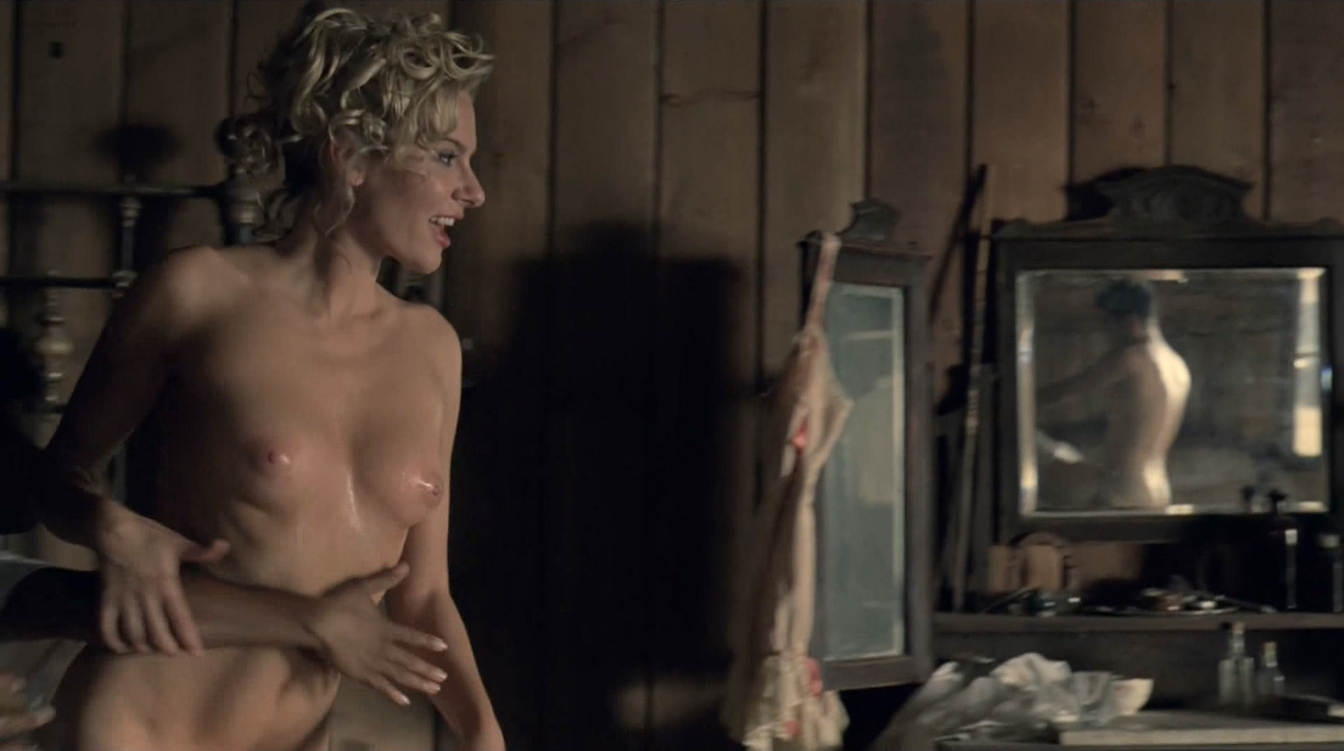 Evan Rachel Wood nude topless and butt Angela Sarafyan nude topless - Westworld (2016) s1e1 HD 1080p (3)