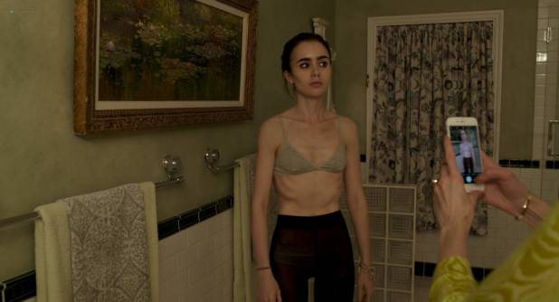 Lily Collins nude side boob - To The Bone (2017) HD 1080p Web (6)