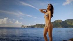 Emily Ratajkowski nude - Wears Nothing But A Guitar Pick Bikini Body Painting (2017) (4)