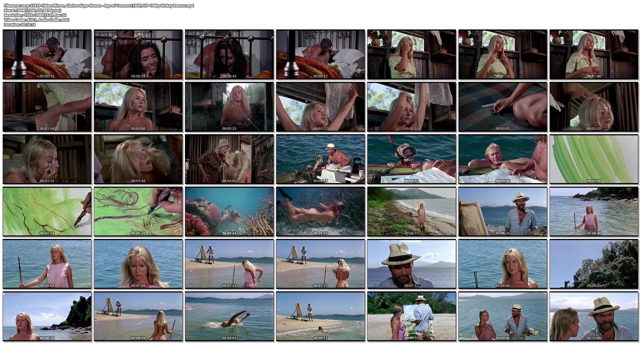 Helen Mirren nude skinny dipping Clarissa Kaye-Mason nude sex - Age of Consent (1969) HD 1080p BluRay Remux (1)