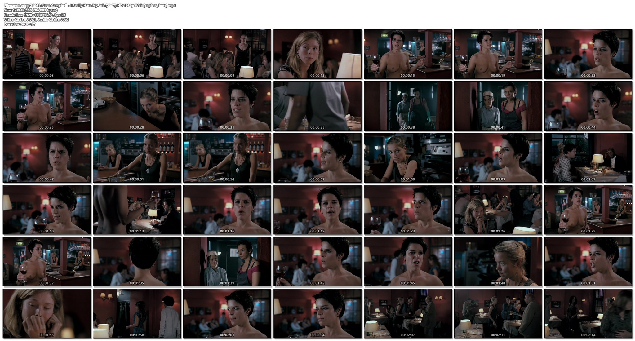 Neve Campbell nude butt and topless - I Really Hate My Job (2007) HD 1080p Web (1)