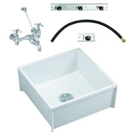 24 in w x 24 in l x 10 in h molded stone mop sink kit
