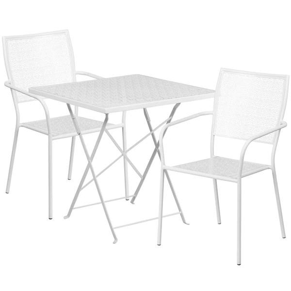 white folding patio table 28sq flash