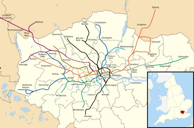 Mapa do metrô de Londres geograficamente acurado