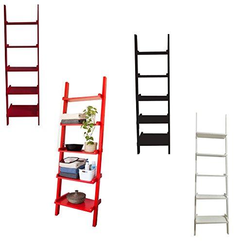 3661256566596 mervy mervy etagere murale style echelle etagere echelle etagere de rangement 5 niveaux 56x189x32 50cm 3 coloris gm blanc