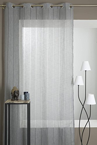 3700912715210 rideaudiscount rideau voilage effet lin a rayures transparentes anthracite
