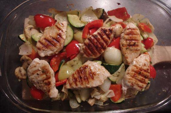 Gegrilde kip met groenten uit de oven