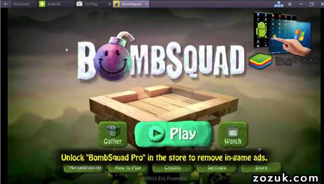bluestacks running bombsquad on windows and mac computer
