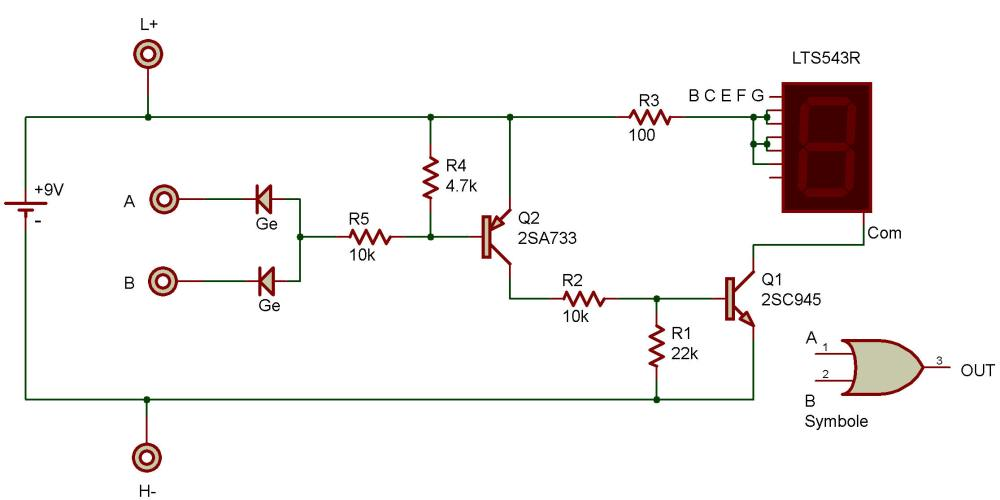 medium resolution of the purpose of this project is to study a logic or circuit as used in computers the readout is connected to display the letter h when either terminal a or