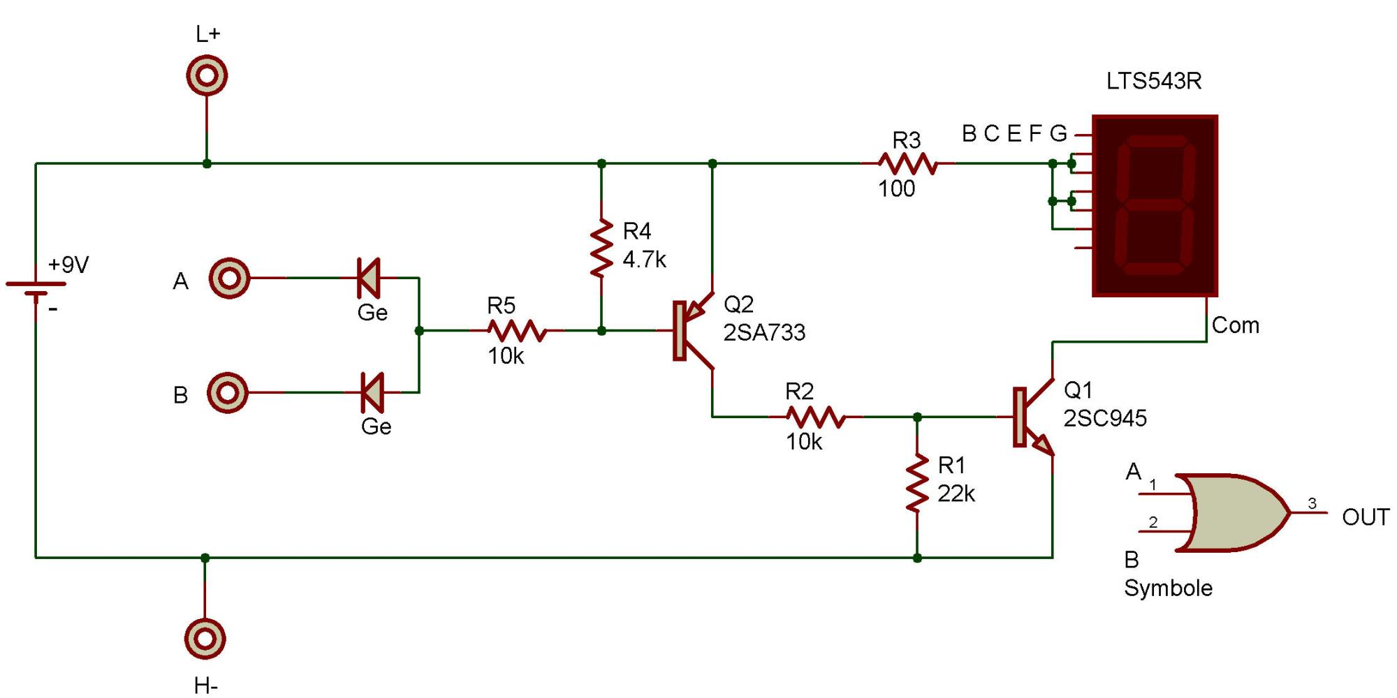 hight resolution of the purpose of this project is to study a logic or circuit as used in computers the readout is connected to display the letter h when either terminal a or