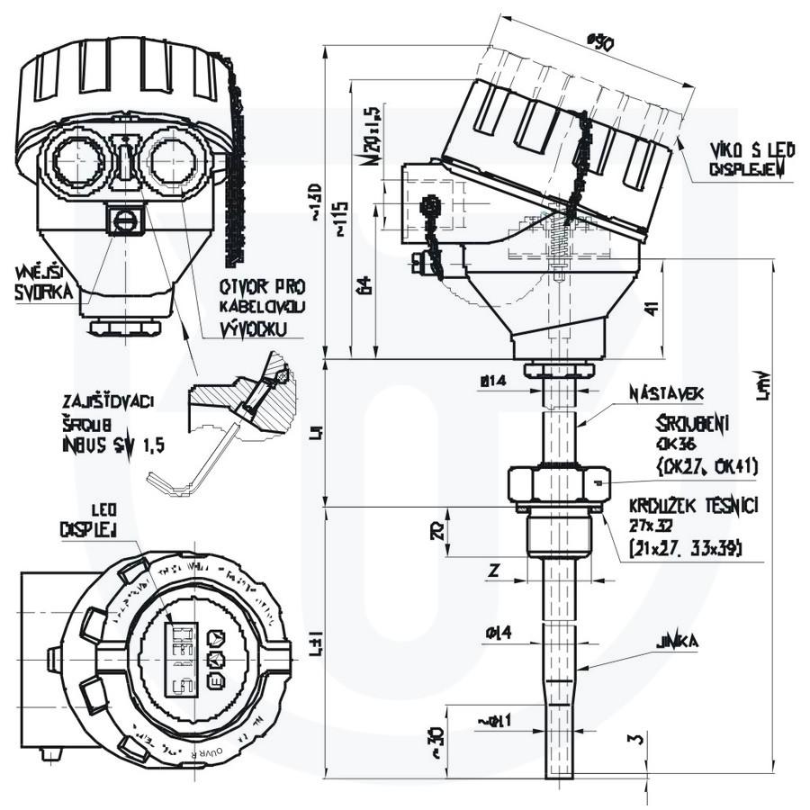 Resistance temperature sensor Ex d with heat sink ČSN