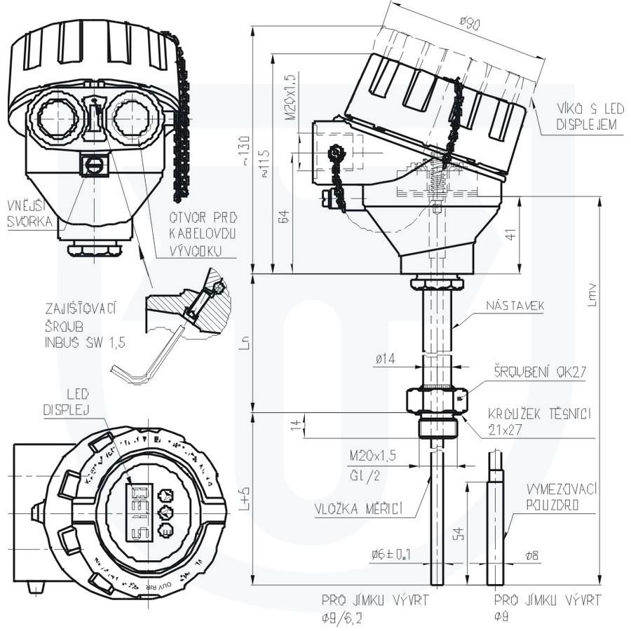 Thermoelectric temperature sensor Ex d to heat sink ČSN