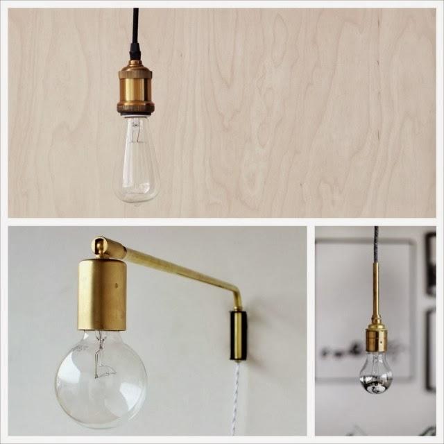House Doctor, lampa złota, kinkiet, sznur z mosięznym wykończeniem
