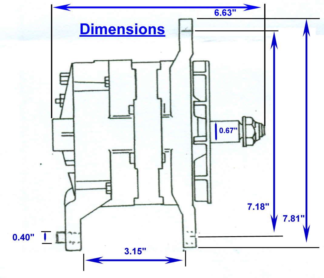 hight resolution of zrd high output alternator 3 15 inch mounting dimensions click here for the 3 15 dual foot dimensional drawing
