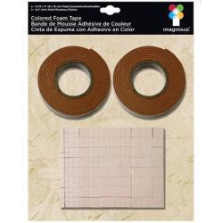 Двостороння об'ємна стрічка та квадратики, коричнева, 003677