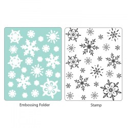 Штамп + папка для тиснення Snowflake Background, Hero Arts/Sizzix, 658283