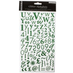 Наклейки Alphabet Glitter Stickers – Emerald (Dark Green), DCAS07