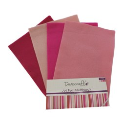 Набір фетру – Pinks, формат A4, 8 листів, Dovecraft, DCFL018