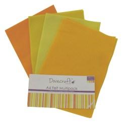 Набір фетру – Yellows, формат A4, 8 листів, Dovecraft, DCFL022
