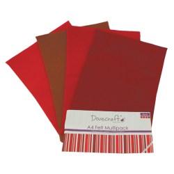 Набір фетру – Reds, формат A4, 8 листів, Dovecraft, DCFL024