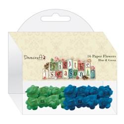 Набір паперових квітів 'Tis the Season, Blue & Green, DCXFW04