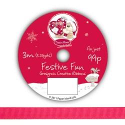 Рулон стрічки Fizzy Moon Festive Fun Ribbon, репсова, 3м, FZFFRB03