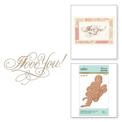 Пластина для фольгування Copperplate Script I Love You, Spellbinders, GLP-016