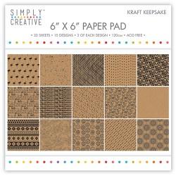 Набір паперу Kraft Keepsake, 15х15 см, Simply Creative, SCPAD042