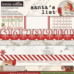 Набір паперу Santa's List, 15х15 см, Teresa Collins, SL1010