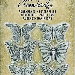 Металеві прикрасии Advantus Idea-Ology Metal Adornments 1″ 6/Pkg Butterflies, Tim Holtz, TH93689