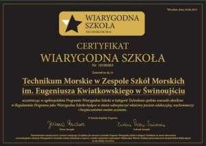 ZSM certyfikat Wiarygodna Szkoł 2015