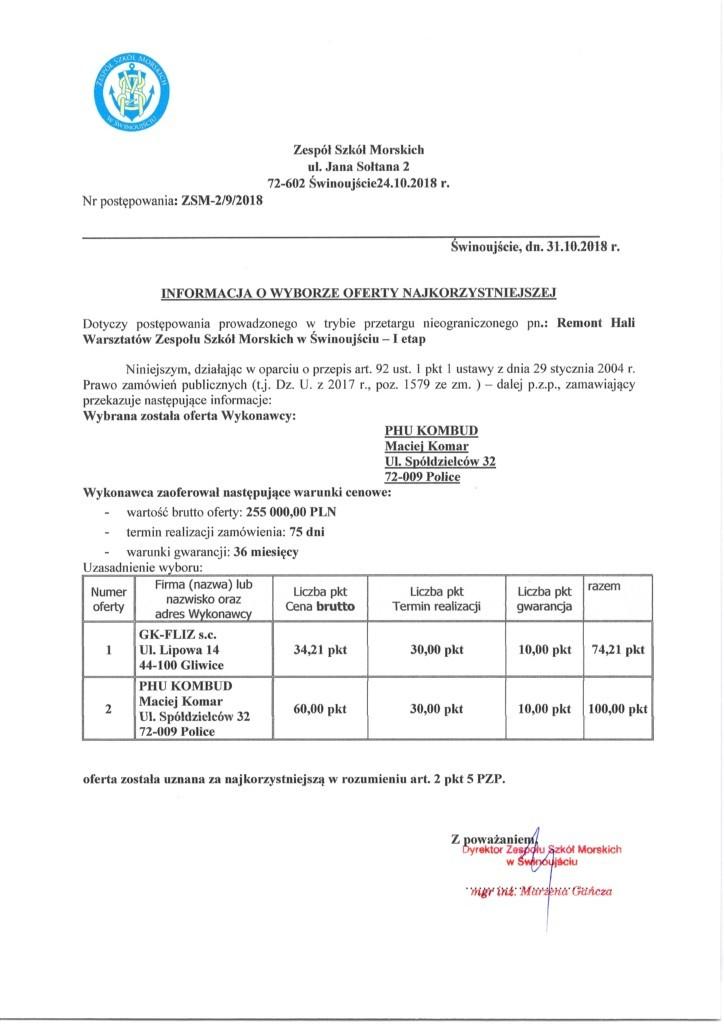Informacja o wyborze oferty-remont hali