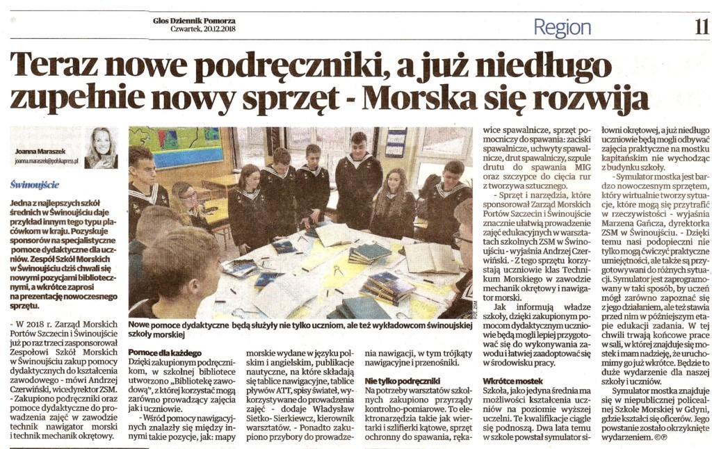Głos Szczeciński również o nas pisze